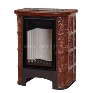 Изразцовая печь-камин София Барокко коричневая