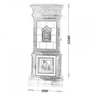 Изразцовая печь-камин TermoVision Velles (с топкой LINA 45/45 Schmid)
