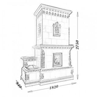 Изразцовая печь-камин TermoVision Vivaldi (с топкой LINA 45/45 Schmid)