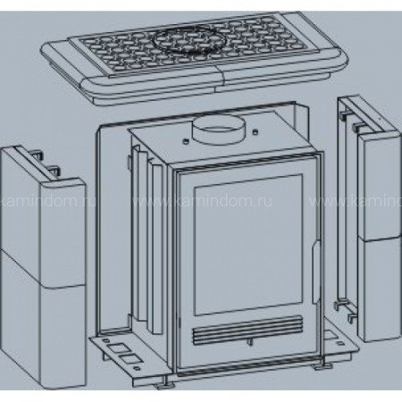Кафельная печь-камин ABX Bavaria K (прямой цоколь) с теплообменником