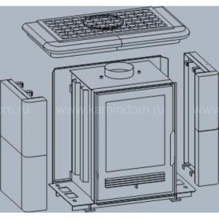 Кафельная печь-камин ABX Bavaria K (сельский цоколь, вставка комбо)