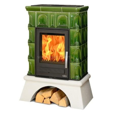 Кафельная печь-камин ABX Britania K (белый цоколь) с теплообменником