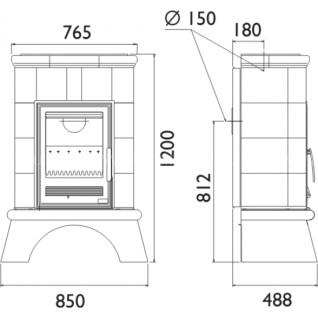 Кафельная печь-камин ABX Britania K (белый цоколь, вставка комбо)