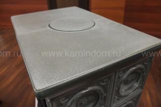 Кафельная печь-камин ABX Helvetia LP (белый цоколь, чугунная вставка)