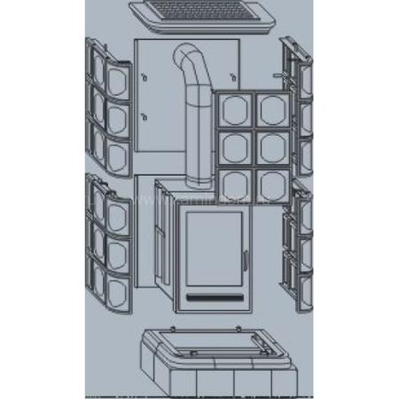 Кафельная печь-камин ABX Kaledonie Color (чугунная вставка)
