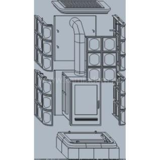 Кафельная печь-камин ABX Kaledonie color K (вставка комбо)