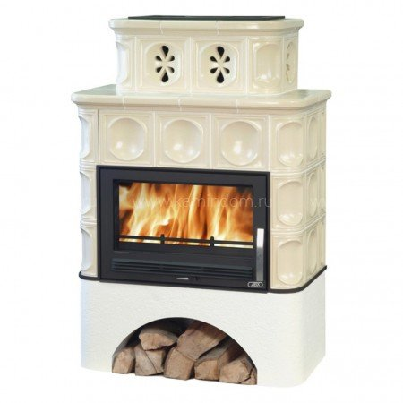 Кафельная печь-камин ABX Karelie (белый цоколь)