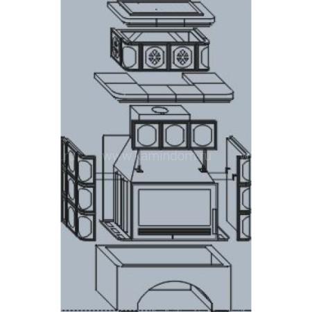 Кафельная печь-камин ABX Karelie (белый цоколь) с теплообменником (10 кВт в воду)