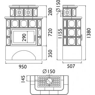 Кафельная печь-камин ABX Karelie (белый цоколь) с теплообменником (7 кВт в воду)