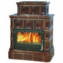 Кафельная печь-камин ABX Karelie (кафельный цоколь) с теплообменником (10 кВт в воду)
