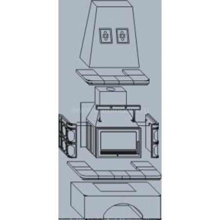Кафельная печь-камин ABX Laponie с теплообменником (10 кВт в воду)