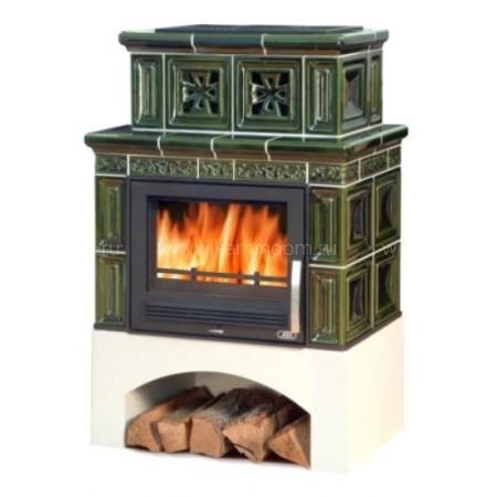 Кафельная печь-камин ABX Valencie (белый цоколь)