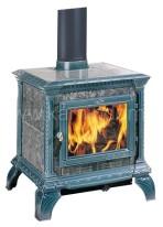 Печь-камин Hergom Tribute, эмалирована в темно-голубой цвет