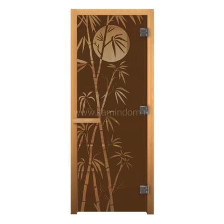 Дверь для бани/сауны LK ДС Бронза Матовая с рисунком