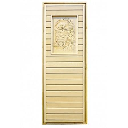 Дверь для бани/сауны LK Глухая с резьбой