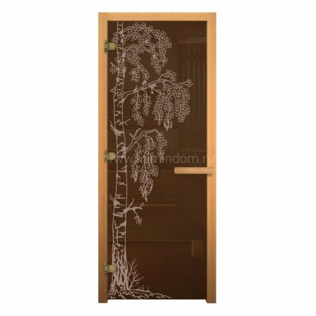 Дверь для бани/сауны LK Бронза Матовая с рисунком