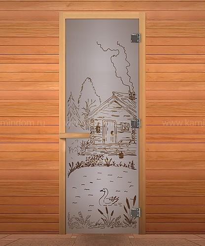 Дверь для бани/сауны LK Сатин Матовая с рисунком