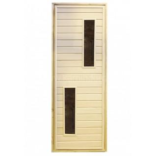 Дверь для бани/сауны LK с двумя стеклами.