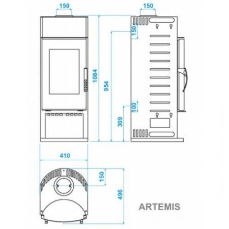 Печь-камин ABX Artemis (гранит розен бэйдж)