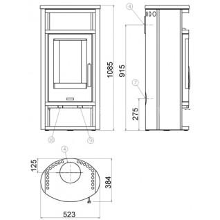 Печь-камин ABX Polar 4 (серая сталь)
