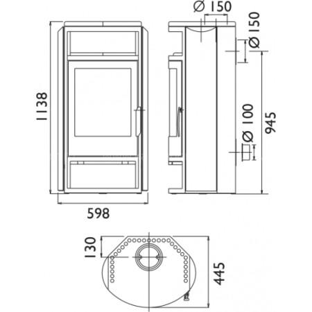 Печь-камин ABX Polar 6 (серая сталь)