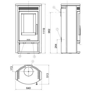 Печь-камин ABX Polar 8 (серая сталь)