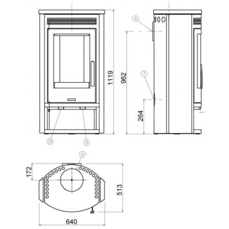 Печь-камин ABX Polar 8 (талькохлорит)