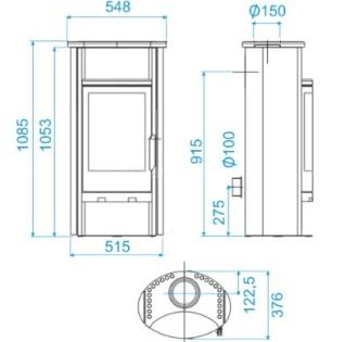 Печь-камин ABX Pori 5 (серая сталь)