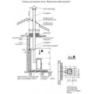 Отопительная печь Теплодар Вертикаль металлика