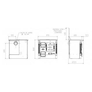 Печь-камин Hergom L-07 Ch, стеклокерамика-хром