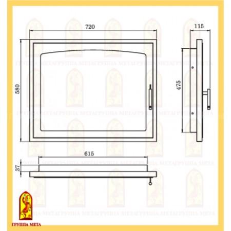 Дверь каминная МЕТА ДК720-1А