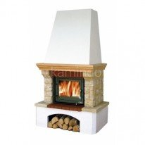 Каминная облицовка ABX Glasgow Klasik (белый цоколь, деревянная балка)