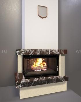 Каминная облицовка Kratki Firebird Ладога под топку Maja/L/BS (угловое стекло слева)