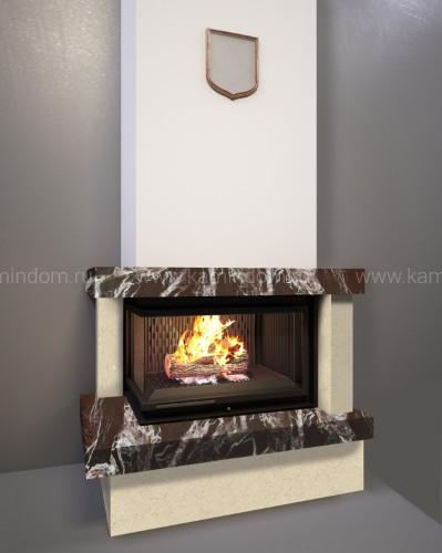 Каминная облицовка Kratki Firebird Ладога под топку Maja/L/BS/G (угловое стекло слева, гильотина)