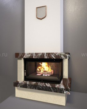 Каминная облицовка Kratki Firebird Ладога под топку Maja/P/BS (угловое стекло справа)