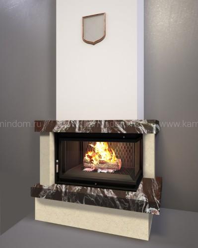 Каминная облицовка Kratki Firebird Ладога под топку Zuzia/P/BS (угловое стекло справа)