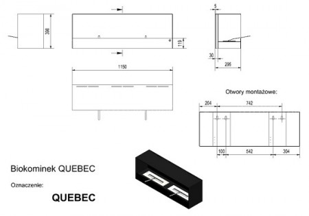 Биокамин Kratki Quebec QUEBEC/CZARNY