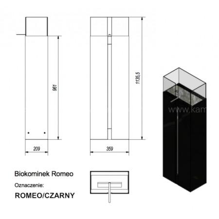 Биокамин Kratki Romeo ROMEO/CZARNY/TUV