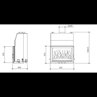 Каминная топка Invicta Chaude 800 (Шауде 800) (Hearth 800 Boiler)