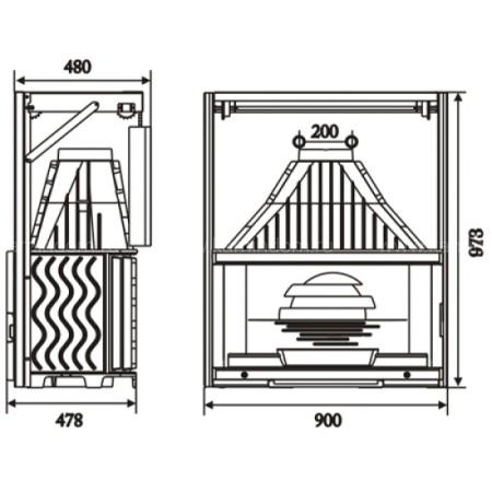 Каминная топка Invicta Grand Vision 900 lifting door (Гранд Визьон 900 контргруз)