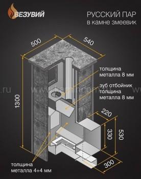 Дровяная печь для бани Везувий Премиум Русский пар в камне змеевик (210)