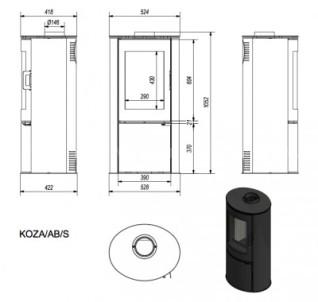 Печь-камин Kratki Koza/AB/S