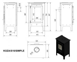 Печь-камин Kratki KOZA/S10/SIMPLE