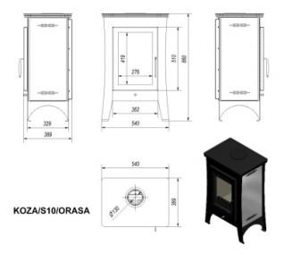 Печь-камин Kratki KOZA/S10/ORASA
