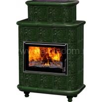 Изразцовая печь-камин Эльзас Барокко зеленая