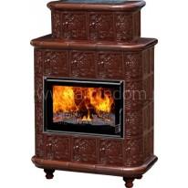 Изразцовая печь-камин Эльзас Барокко коричневая
