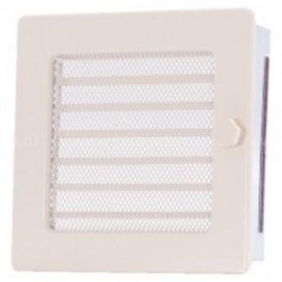 Вентиляционная решетка с жалюзи кремовая 17х17 мм