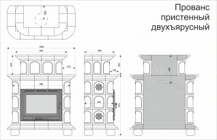Изразцовая печь КимрПечь Прованс пристенный 2 яруса Дельфт