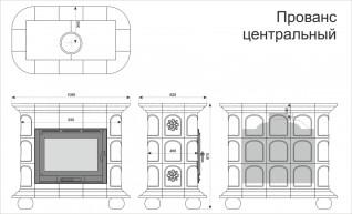 Изразцовая печь КимрПечь Прованс центральный Маки