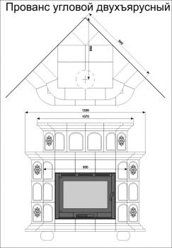 Изразцовая печь КимрПечь Прованс угловой 2 яруса Дельфт